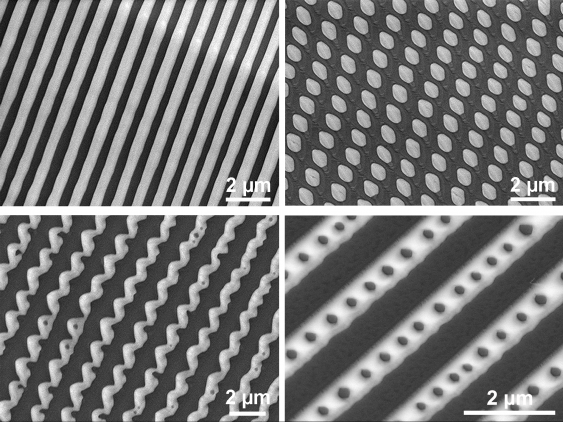 Using an electron microscope, highly ordered patterns including alternating stripes, curved fibres, dot arrays, and some exotic stripe-dot hybrids were observed on the surface of the frozen liquid metal.